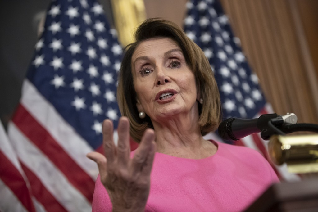 House Minority Leader Nancy Pelosi, D-Calif., speaks in during a news conference on Capitol Hill in Washington, Wednesday, Nov. 7, 2018. Pelosi says s...