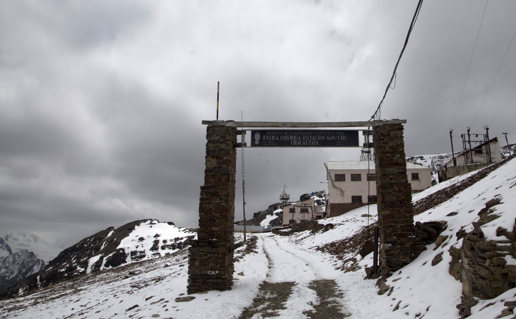 In this Oct. 8, 2018 photo, shows the entrance to the Chacaltaya atmospheric observatory, at Chacaltaya mountain, Bolivia. The station is an important