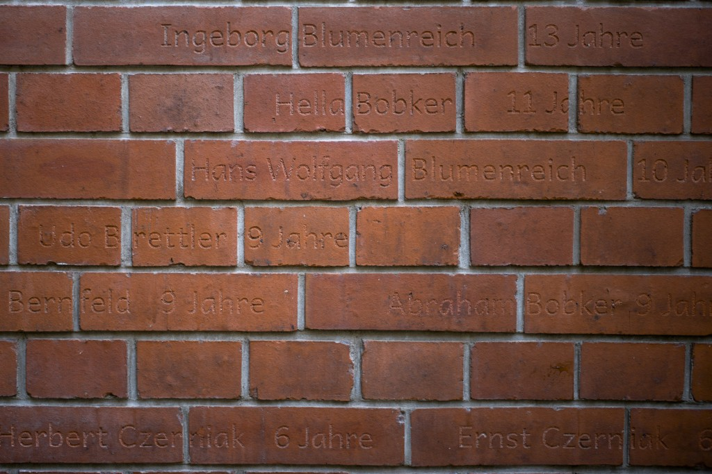 The Nov. 5, 2018 photo shows the memorial site of Auerbach'sches Waisenhaus orphanage in Berlin. A wall near the building was turned into a memorial f...