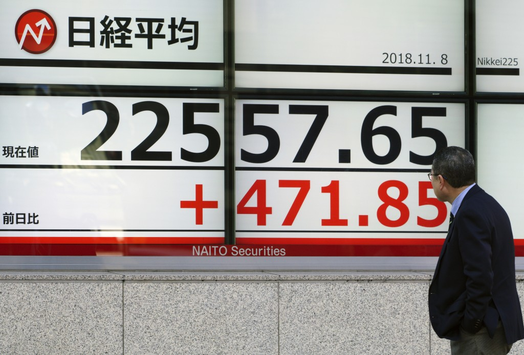 A man looks at an electronic stock board showing Japan's Nikkei 225 index at a securities firm in Tokyo Thursday, Nov. 8, 2018. Asian markets rose on