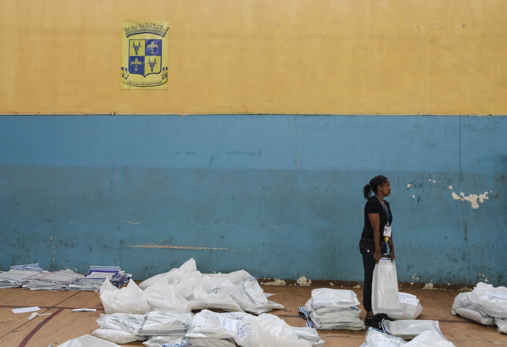 Ballots are held at a centre in Antananarivo, Madagascar, Thursday, Nov. 8, 2018, a day after Madagascans cast their votes. Vote counting started Wedn...