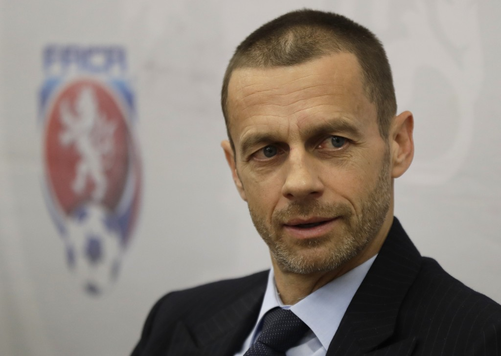 In this Tuesday, March 21, 2017 file photo, UEFA president Aleksander Ceferin addresses the media at a news conference in Prague, Czech Republic. Alek