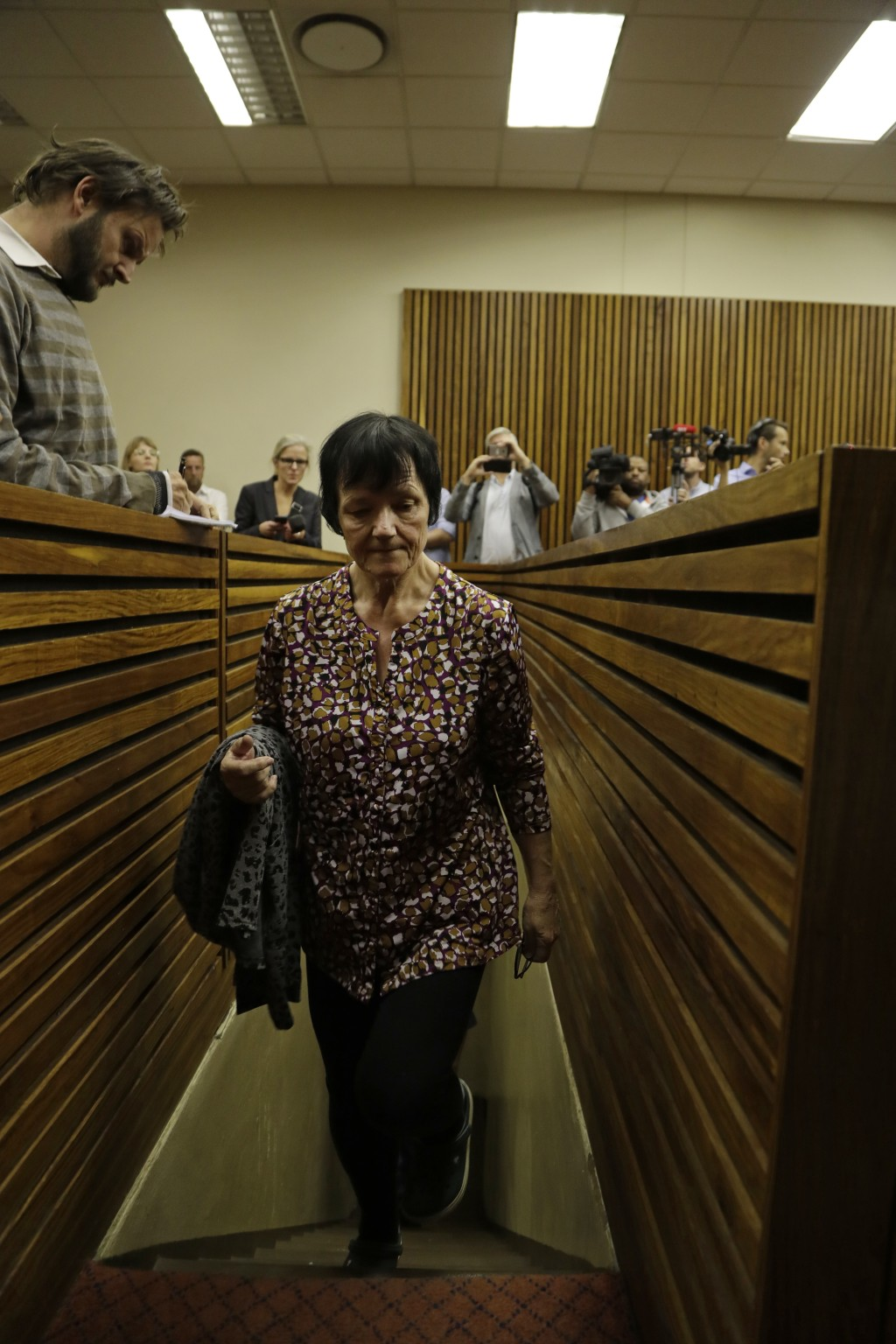 Danish national Britta Nielsen appears in the Randburg Magistrates Court in Johannesburg, Thursday, Nov. 8 2018. Nielsen is reported to have been an e...