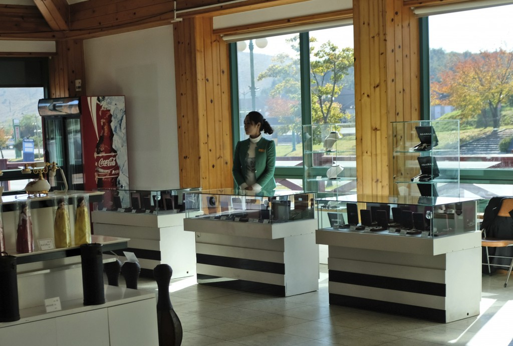 In this Oct. 23, 2018, photo, a staff waits for customers at a souvenir shop at Mount Kumgang resort area in, North Korea. At the height of South Kore