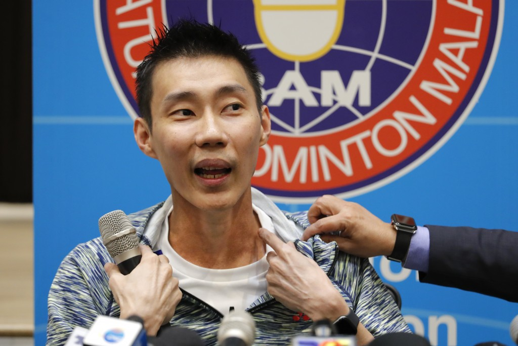 Former world No. 1 badminton player Lee Chong Wei from Malaysia explaining his recent cancer treatment in Taiwan during a press conference in Kuala Lu