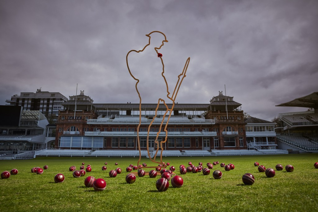 In this image released by the English Cricket Board and taken on Oct. 25, 2018 a Tommy silhouette of the 'There But Not There' project on display at L...