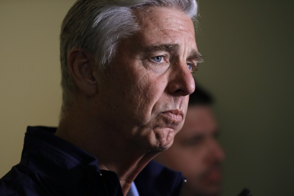 Dave Dombrowski, president of baseball operations for the Boston Red Sox, talks with reporters during the baseball general managers meetings Wednesday