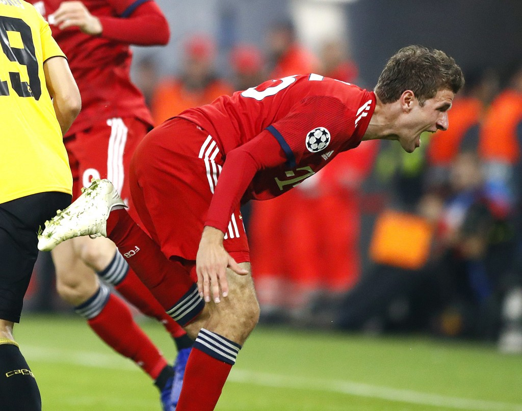Bayern forward Thomas Mueller reacts during the Champions League group E soccer match between FC Bayern Munich and AEK Athen in Munich, Germany, Wedne...
