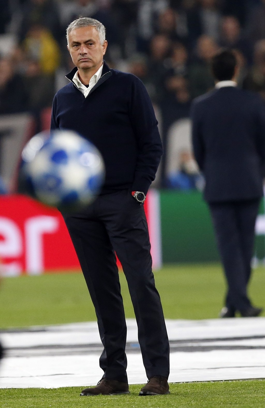 ManU coach Jose Mourinho stands on the pitch prior to the Champions League group H soccer match between Juventus and Manchester United at the Allianz ...