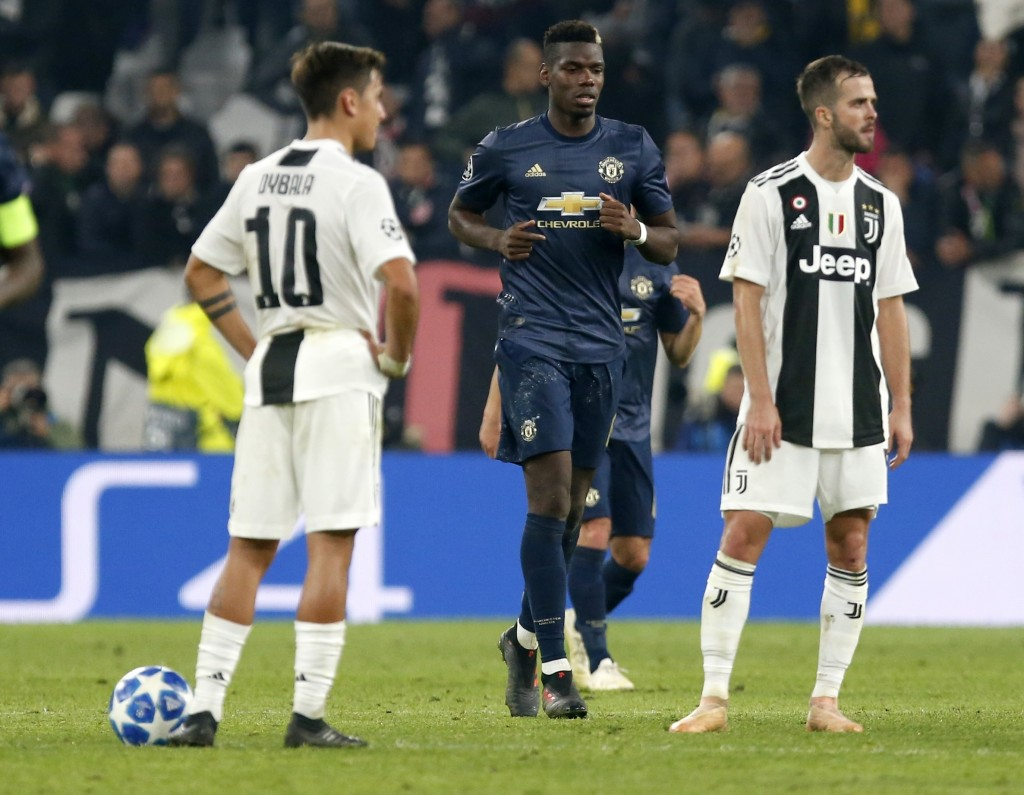 From left, Juventus forward Paulo Dybala ManU midfielder Paul Pogba and Juventus midfielder Miralem Pjanic react after Juventus defender Alex Sandro s