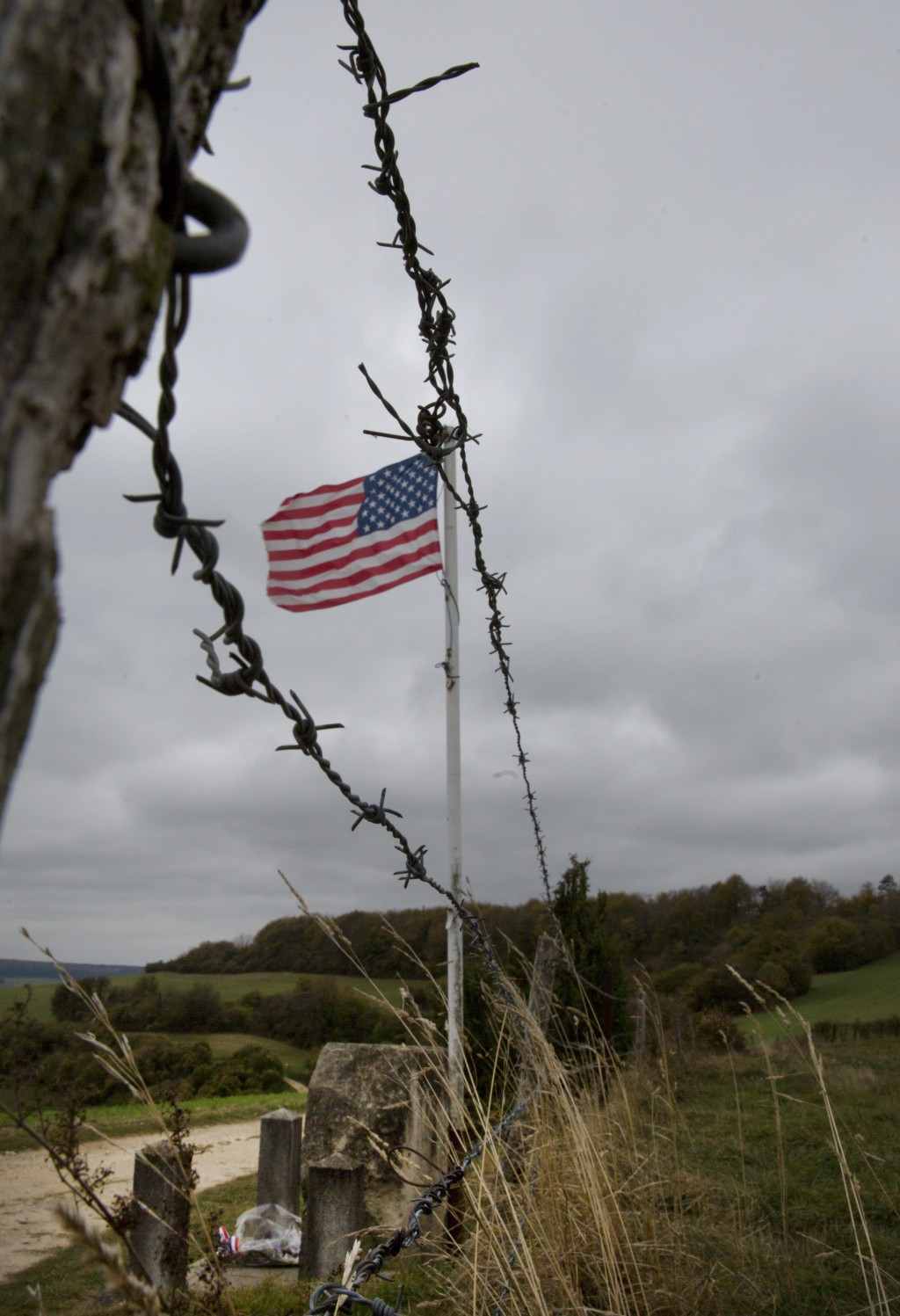 In this photo taken on Monday, Oct. 29, 2018, a memorial to US World War I soldier Henry Gunther perched on a hill where he died in Chaumont-devant-Da...