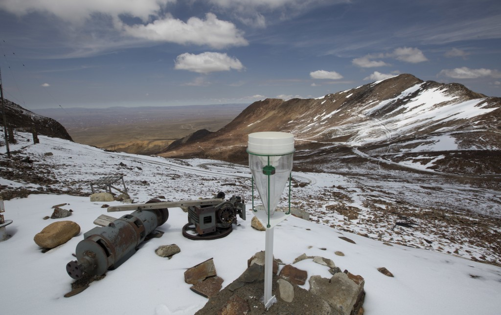 In this Oct. 8, 2018 photo, an air collector of the Chacaltaya atmospheric observatory stands in the outskirts of El Alto, Bolivia. In 2012, the site