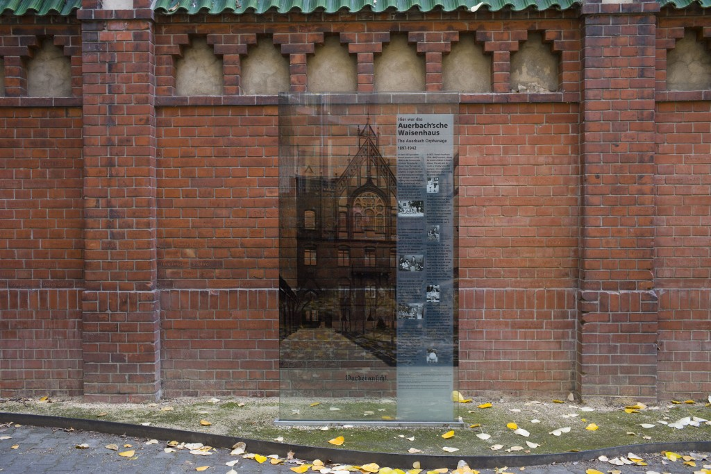 The Nov. 5, 2018 photo the memorial site of Auerbach'sches Waisenhaus orphanage in Berlin. A wall near the building was turned into a memorial for tho