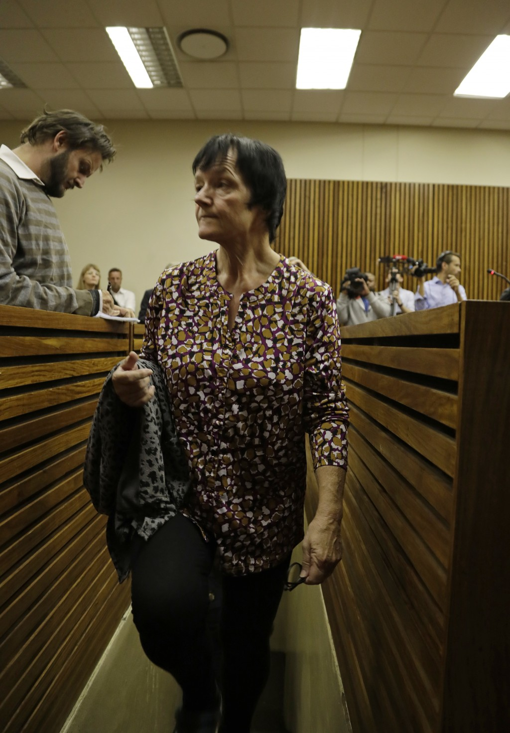 Danish national Britta Nielsen appears in the Randburg Magistrates Court in Johannesburg, Thursday, Nov. 8 2018. Nielsen is reported to have been an e