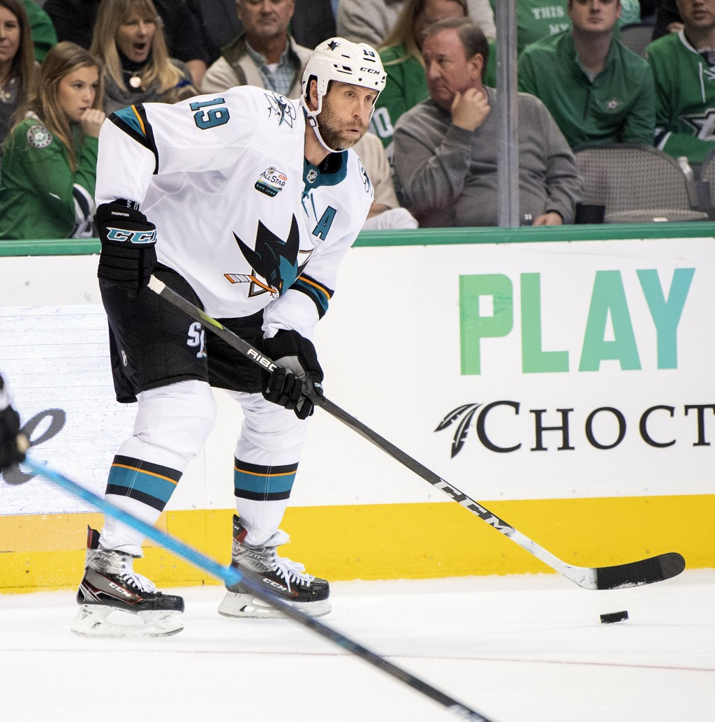 San Jose Sharks center Joe Thornton controls the puck during the second period of an NHL hockey game against the Dallas Stars Thursday, Nov. 8, 2018,