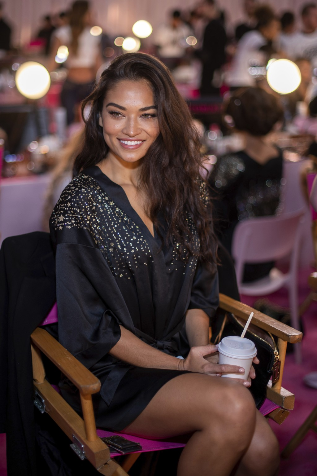 Shanina Shaik appears backstage during hair and makeup at the 2018 Victoria's Secret Fashion Show at Pier 94 on Thursday, Nov. 8, 2018, in New York. (