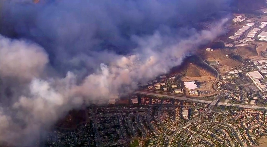This photo taken from video provided by CBS2/KCAL9 shows a wildfire burning in Camarillo, Calif., Thursday afternoon, Nov. 8, 2018. Known as the Hill