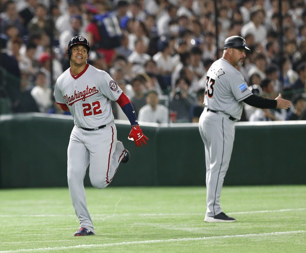 MLB All-Star left fielder Juan Soto (22) of the Washington Nationals rounds third base after hitting a two-run home-run off All Japan's pitcher Akitak