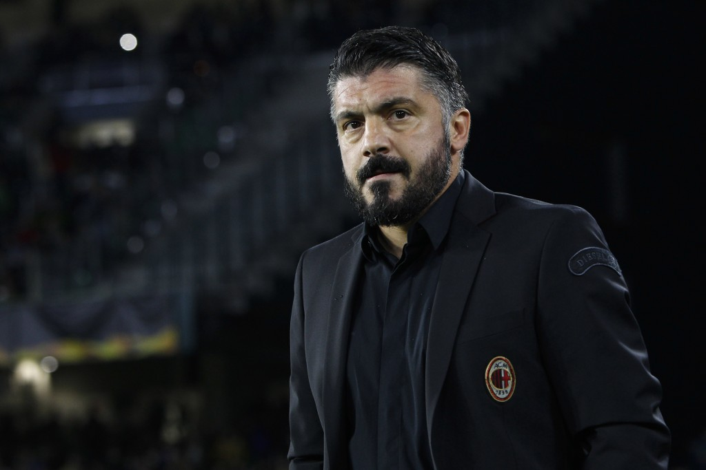 AC Milan coach Gennaro Gattuso arrives at the bench during the Europa League, Group F soccer match between AC Milan and Betis, at the Benito Villamari