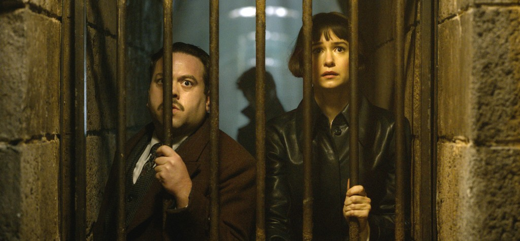 "This image released by Warner Bros. Pictures shows Dan Fogler, left and Katherine Waterston in a scene from ""Fantastic Beasts: The Crimes of Grindelwa"