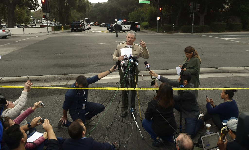 Ventura County Sheriff Geoff Dean speaks to reporters near the scene in Thousand Oaks, Calif., on Thursday, Nov. 8, 2018, where a gunman opened fire t