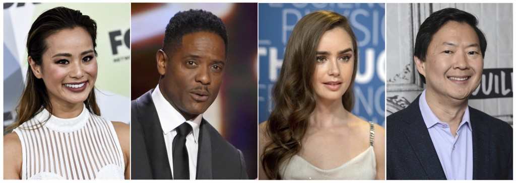 This combination photo shows actors Jamie Chung, from left, Blair Underwood, Lily Collins and Ken Jeong who read selected passages from four winning s