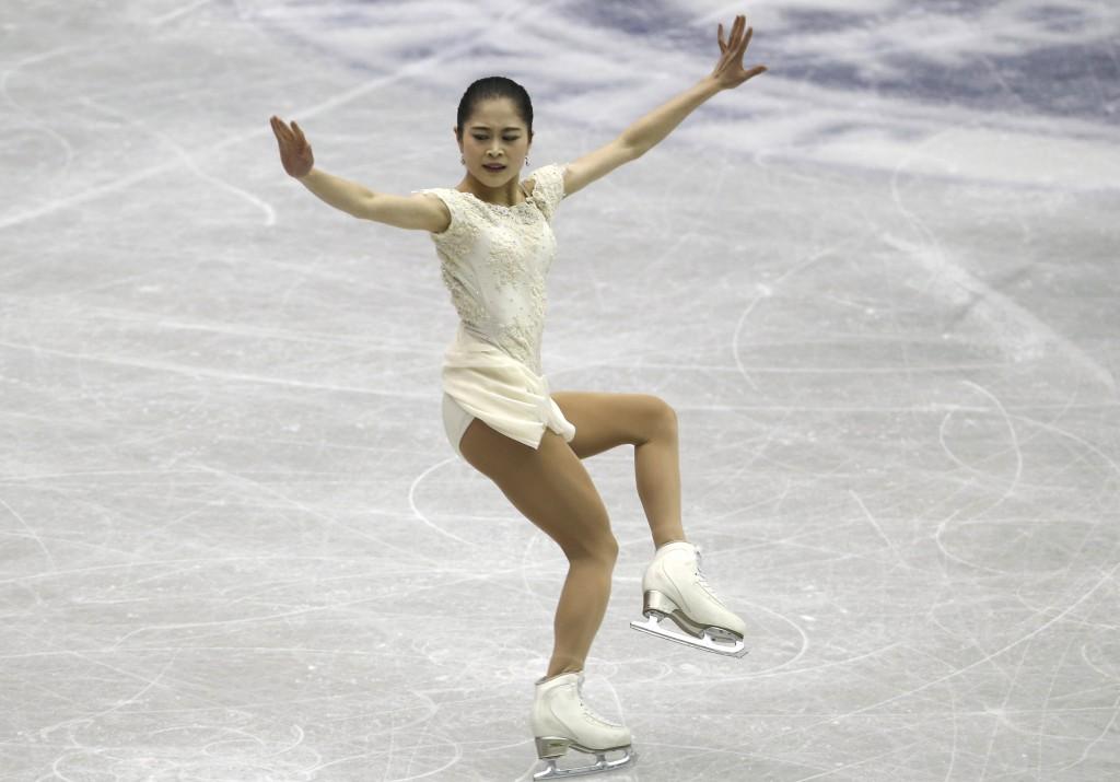 Japan's Satoko Miyahara performs during a Ladies short program of the NHK Trophy Figure Skating in Hiroshima, Western Japan, Friday, Nov. 9, 2018. (AP