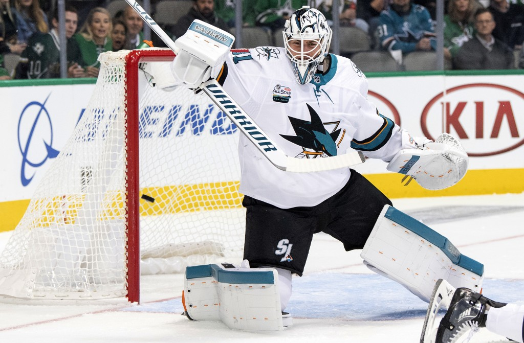 San Jose Sharks goaltender Martin Jones allows a goal by Dallas Stars' Devin Shore during the first period of an NHL hockey game Thursday, Nov. 8, 201
