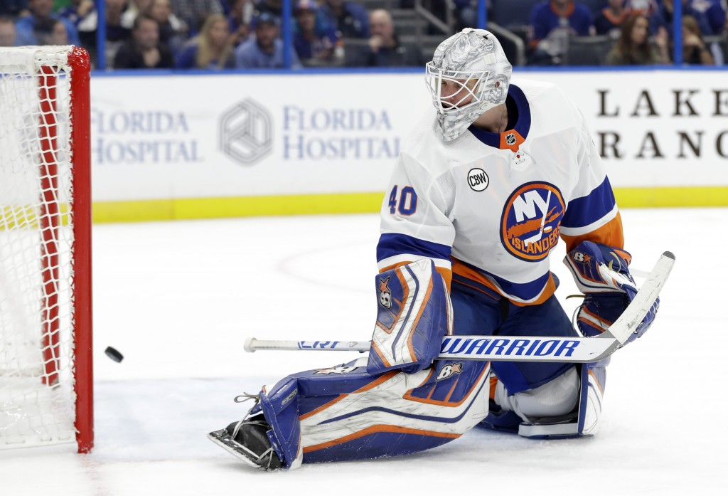 New York Islanders goaltender Robin Lehner (40) can only watch as a shot by Tampa Bay Lightning right wing Mathieu Joseph goes into the net for a goal
