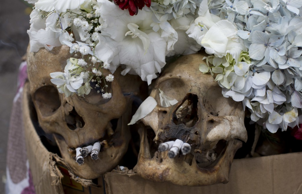 Decorated humans skulls are displayed outside the General Cemetery chapel marking the annual Natitas Festival in La Paz, Bolivia, Thursday, Nov. 8, 20...