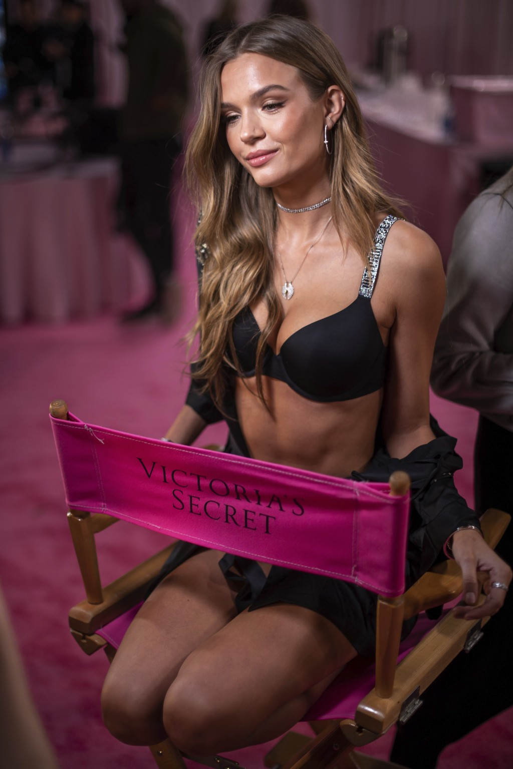 Josephine Skriver appears backstage during hair and makeup at the 2018 Victoria's Secret Fashion Show at Pier 94 on Thursday, Nov. 8, 2018, in New Yor
