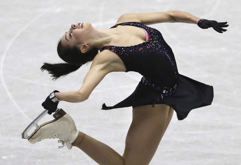 In this Friday, Nov. 9, 2018, file photo, Russia's Elizaveta Tuktamysheva performs during a Ladies short program of the NHK Trophy Figure Skating in H...
