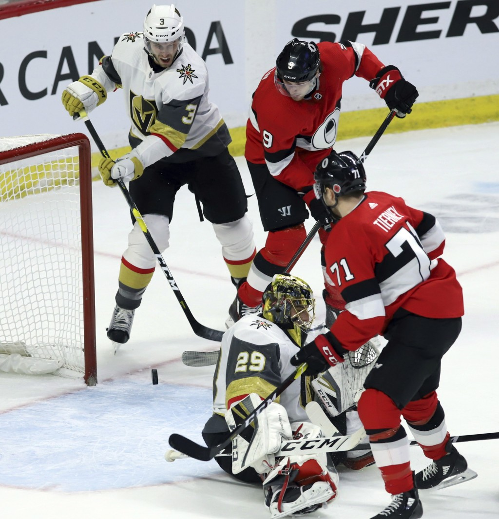 Ottawa Senators right wing Bobby Ryan (9) attempts to tip the puck pass Vegas Golden Knights goaltender Marc-Andre Fleury (29) as Vegas Golden Knights