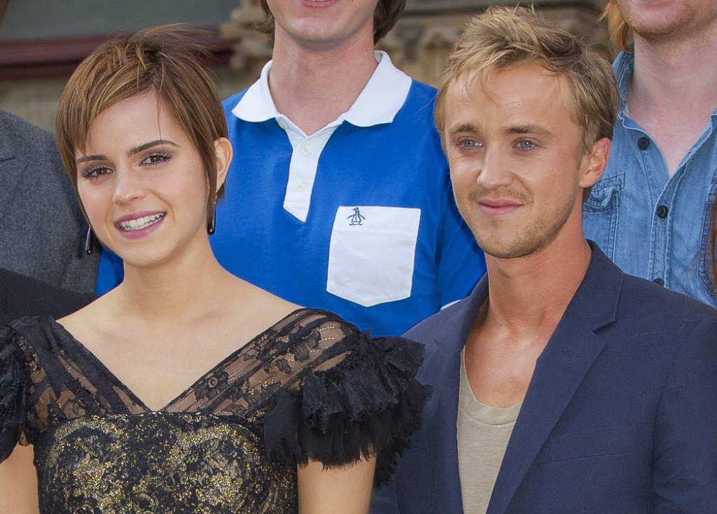"In this July 6, 2011 file photo, actors, from left,  Emma Watson and Tom Felton pose at St Pancras Renaissance Hotel in central London.  ""Harry Potter"