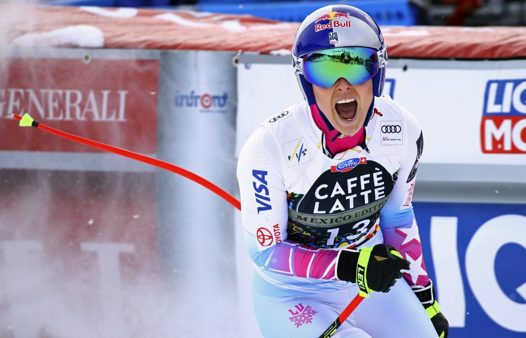FILE- In this March 14, 2018, file photo, United States' Lindsey Vonn reacts in the finish area completing a women's downhill at the alpine ski World