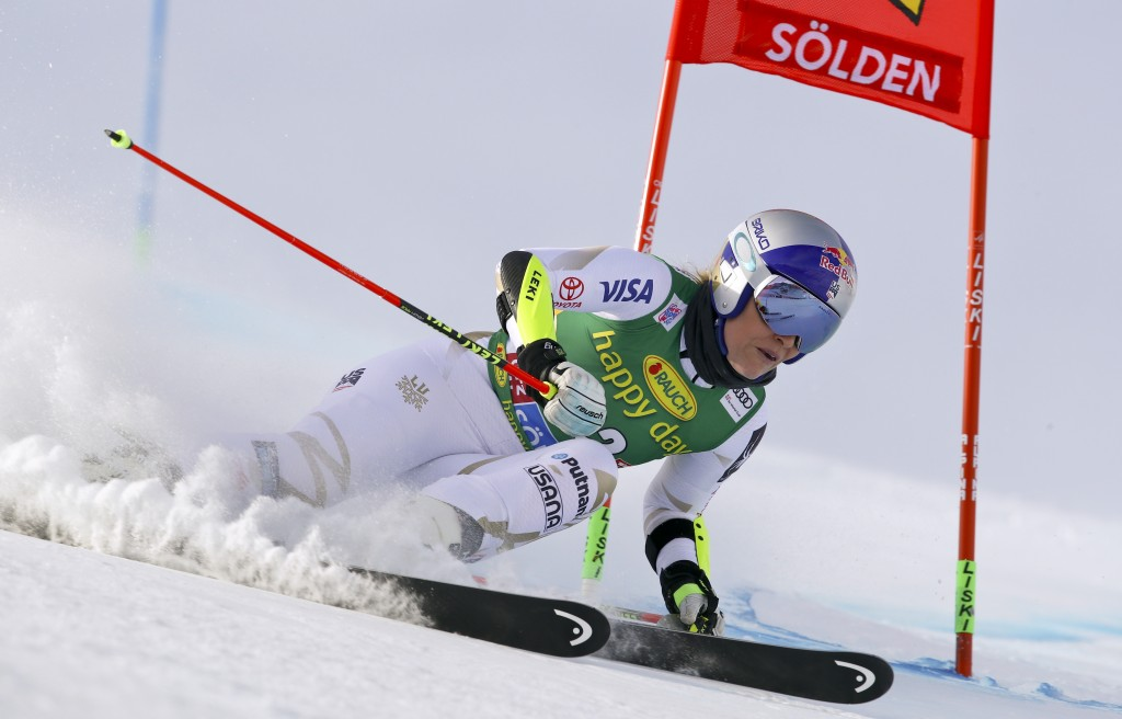 FILE - In this Oct. 28, 2017, file photo, United States' Lindsey Vonn speeds down the course during the first run of the women's World Cup giant slalo