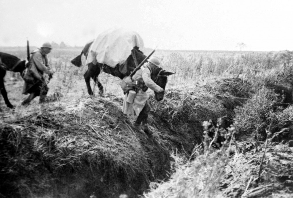 FILE - This undated file photo shows machine gunners with mules crossing a trench in France during WWI. They were messengers, spies, sentinels and the