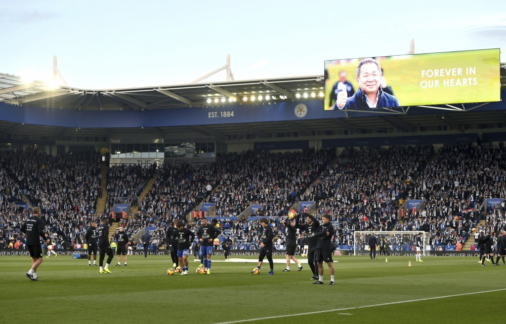 Tributes to those who lost their lives in the Leicester City helicopter crash including Leicester City Chairman Vichai Srivaddhanaprabha on the screen