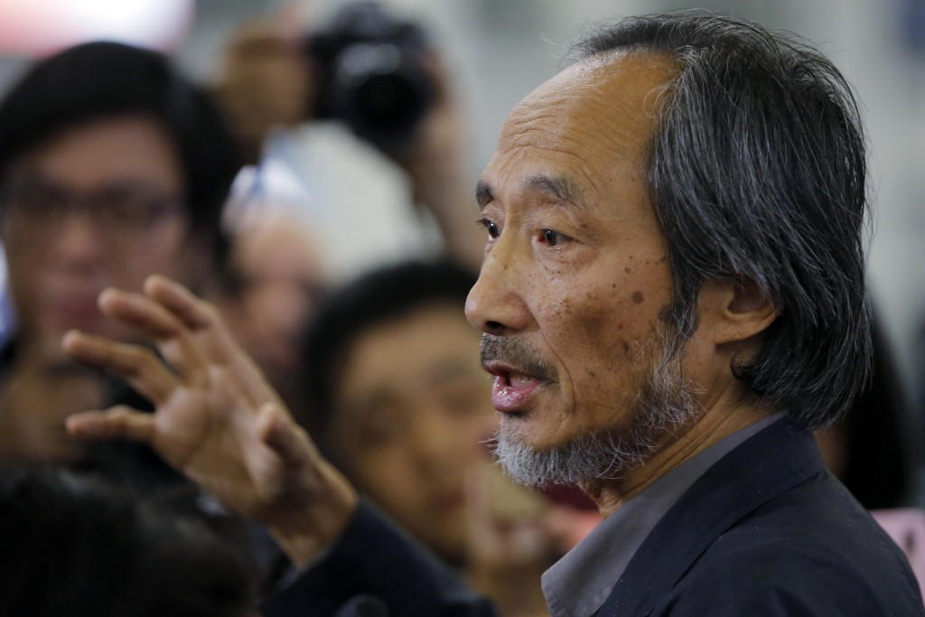 In this Nov 9, 2018, photo, Chinese dissident writer Ma Jian speaks to media after arriving Hong Kong international airport. Concerns have been raised
