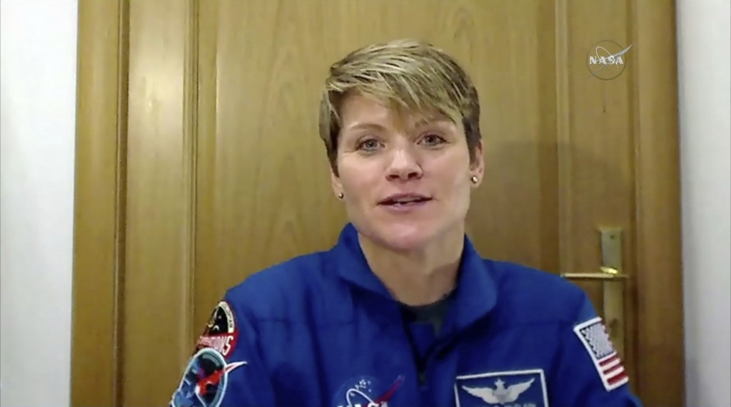 In this image from video made available by NASA, U.S. astronaut Anne McClain speaks during an interview in Star City, Russia on Friday, Nov. 9, 2018. ...
