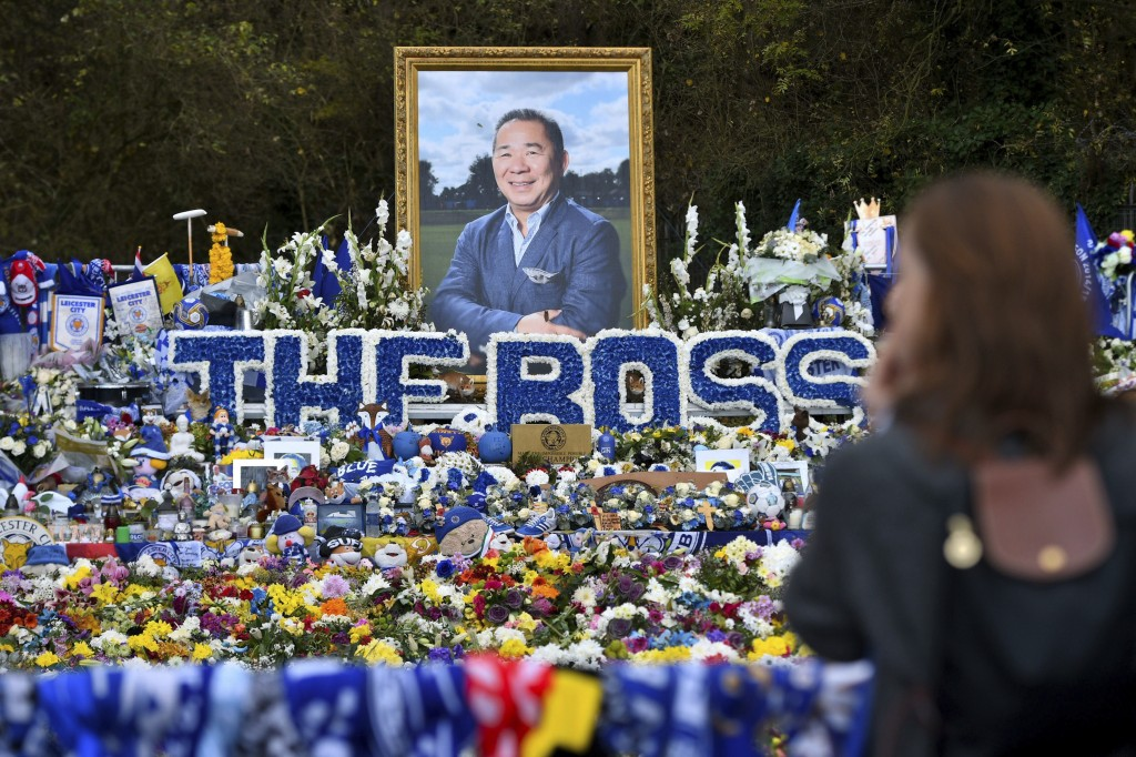 Floral tributes for those who lost their lives in the Leicester City helicopter crash including Leicester City Chairman Vichai Srivaddhanaprabha ahead