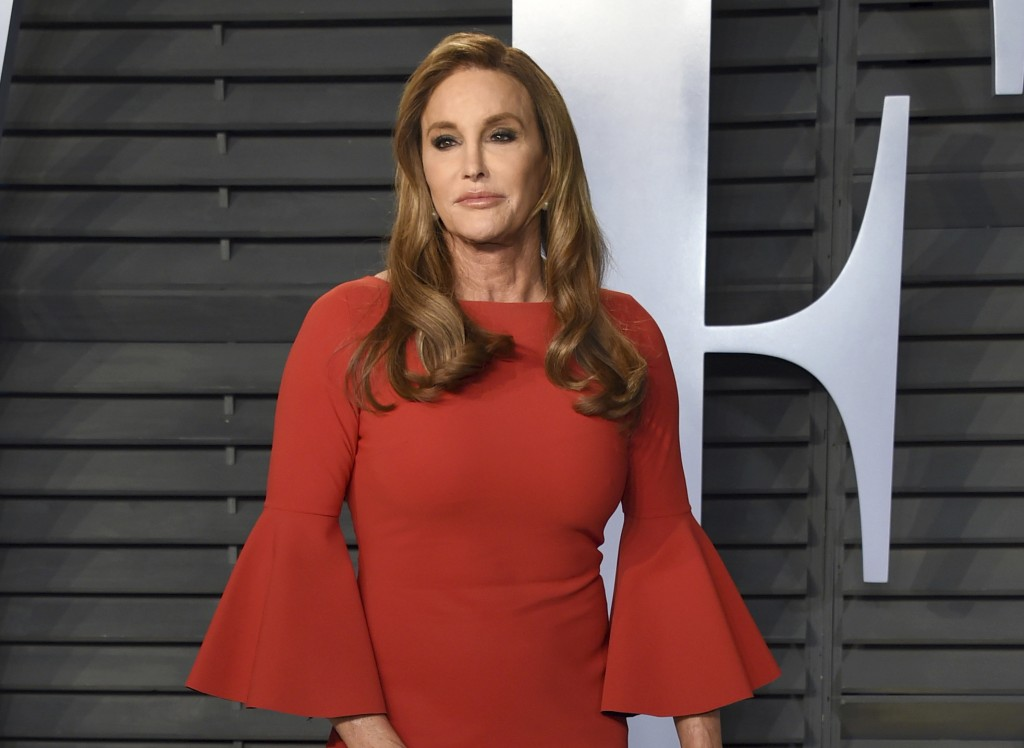 FILE - In this March 4, 2018 file photo, Caitlyn Jenner arrives at the Vanity Fair Oscar Party in Beverly Hills, Calif. A fast-moving wildfire in Sout