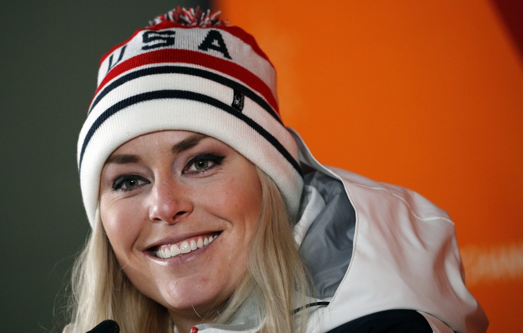FILE - In this Feb. 21, 2018, file photo, United States' Lindsey Vonn speaks at a press conference after winning the bronze medal in the women's downh