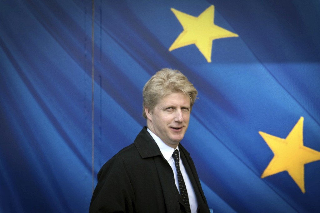 FILE - In this March 28, 2017 file photo, Jo Johnson visits the the European Commission in Brussels. A transport minister in the British government st
