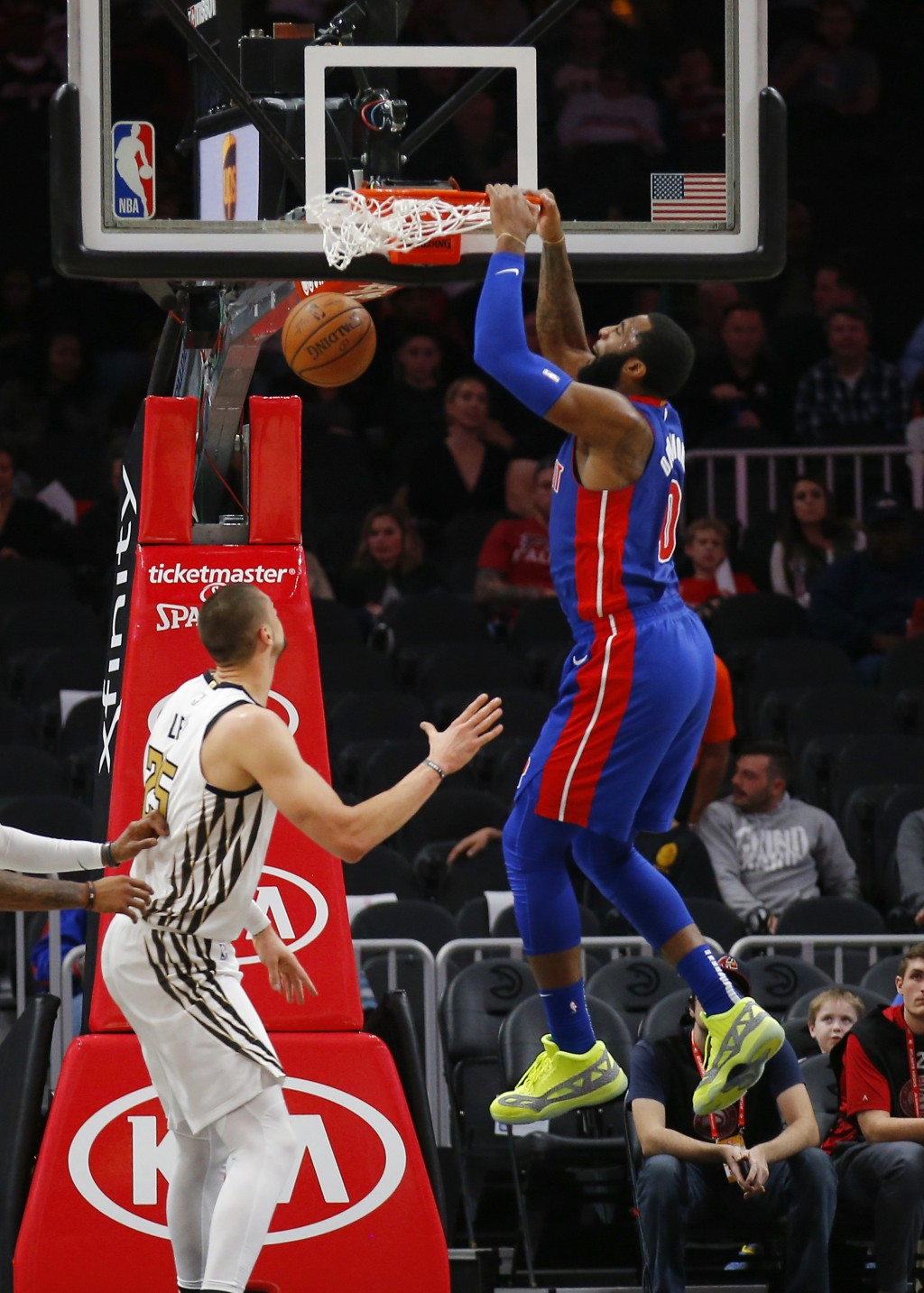 Detroit Pistons center Andre Drummond (0) dunks during the first half of the team's NBA basketball game against the Atlanta Hawks on Friday, Nov. 9, 2