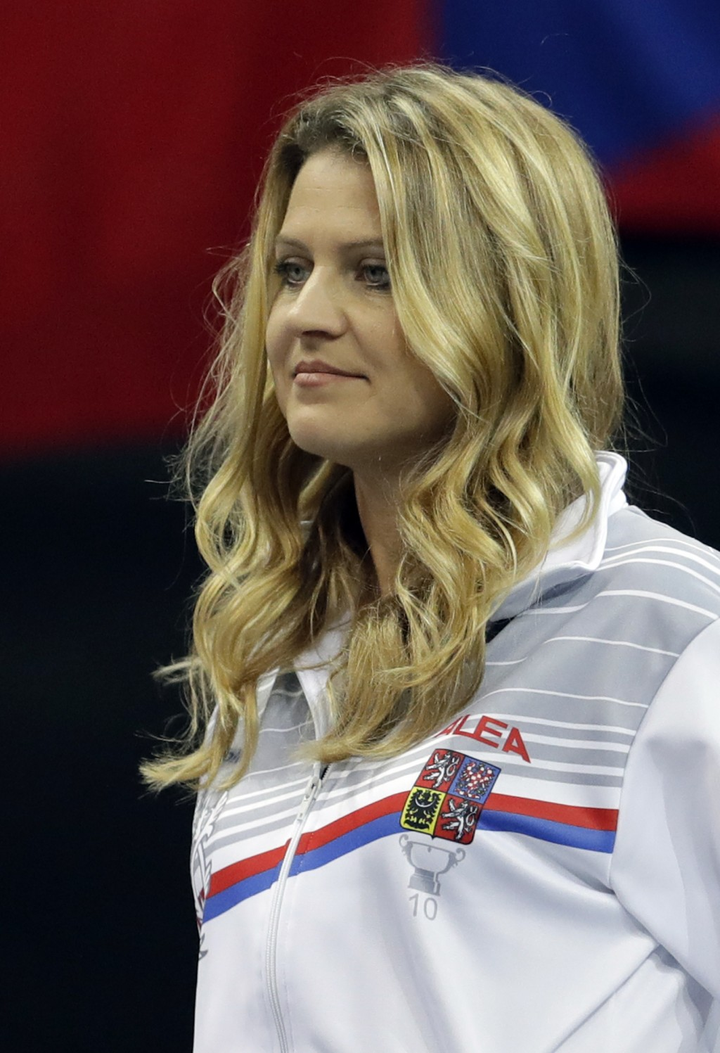 Tennis player Lucie Safarova of the Czech Republic watches a tennis match of the Fed Cup Final between Czech Republic and United States in Prague, Cze