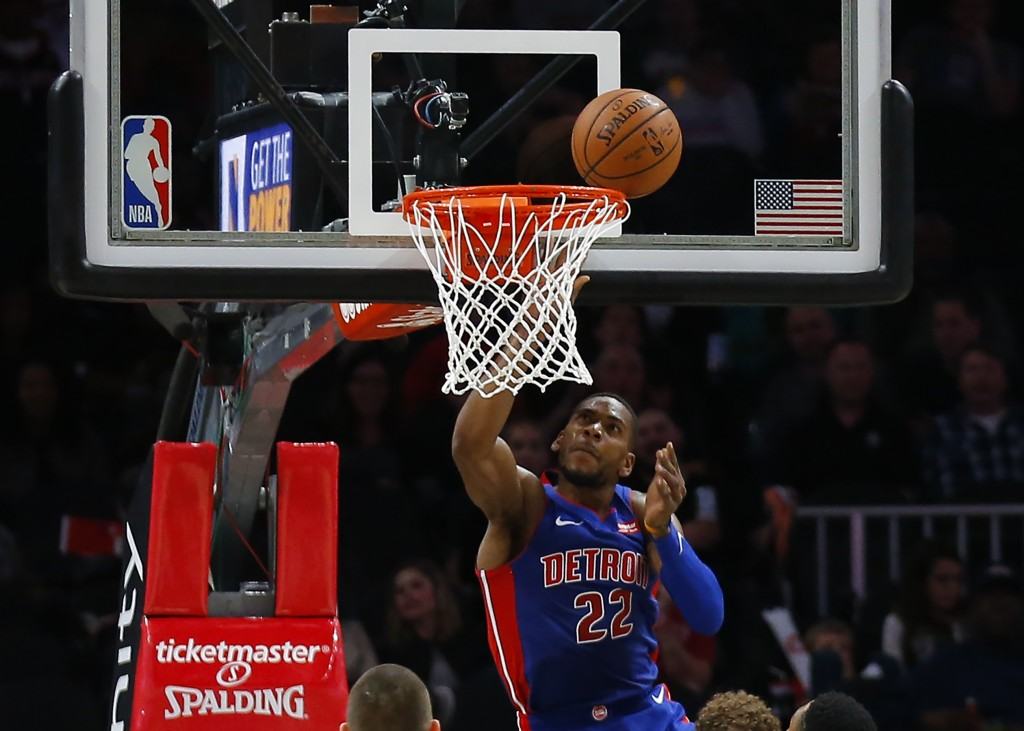 Detroit Pistons guard Glenn Robinson III (22) scores on a layup during the first half of the team's NBA basketball game against the Atlanta Hawks on F