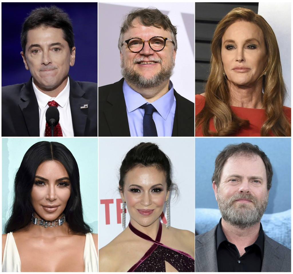 This combination photo shows celebrities, top row from left, Scott Baio, Guillermo del Toro, Caitlyn Jenner and bottom row from left, Kim Kardashian,