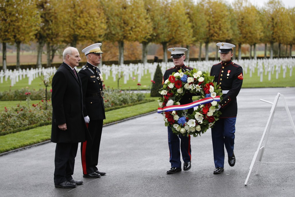 White House Chief of Staff John Kelly, left, and Chairman of the Joint Chiefs of Staff, Marine Gen. Joseph Dunford attend a ceremony at the Aisne Marn