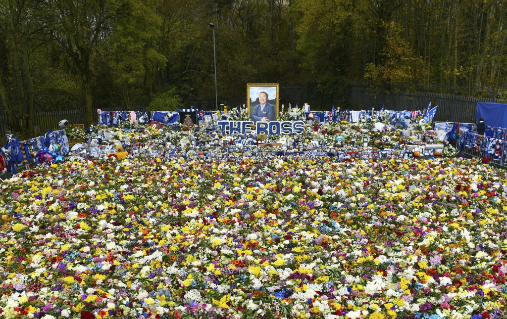 Floral tributes for those who lost their lives in the Leicester City helicopter crach including Leicester City Chairman Vichai Srivaddhanaprabha ahead